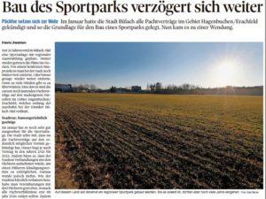 Bau des Sportparks verzögert sich weiter