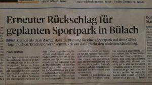 Erneuter Rüeckschlag für Sportpark