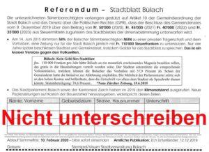Referendum Stadtblatt Bülach